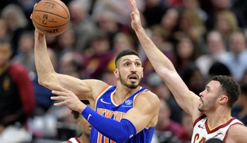 New York Knicks center Enes Kanter (00) shoots against Cleveland Cavaliers forward Larry Nance Jr. (22) in the second quarter at Quicken Loans Arena, Cleveland, Ohio, December 21, 2018.