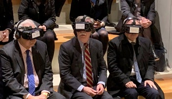 U.S. National Security Adviser John Bolton and Ambassador David M. Friedman wear virtual reality goggles during a visit to the Western Wall tunnel complex, January 6, 2019