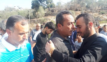 File photo: Yacoub Rabi during the funeral of his wife in Biddya, the West Bank, October 13, 2018.