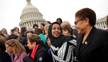Rep. Ilhan Omar (D-MN) (C) joins her fellow House Democratic women for a portrait in front of the U.S. Capitol in Washington, D.C., January 04, 2019.