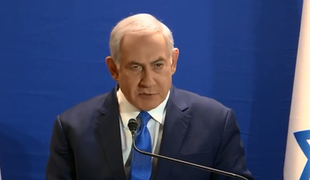 Israeli Prime Minister Benjamin Netanyahu at his residence, speaking in a televised statement, January 7, 2019.