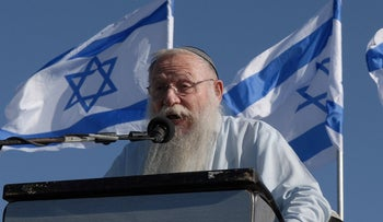 Rabbi Haim Druckman addressing a march in June 12, 2007 to the West Bank settlement of Homesh, evacuated as part of the disengagement plan in 2005