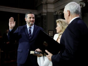 Senator Ted Cruz participates in a mock swearing in with U.S. Vice President Mike Pence during the opening day of the 116th Congress on Capitol Hill in Washington, U.S. January 3, 2019.