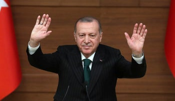 Turkish President Recep Tayyip Erdogan delivers a speech during a symposium on local authorities under the new presidential government system, at the Presidential Complex in Ankara, on January 9, 2019.