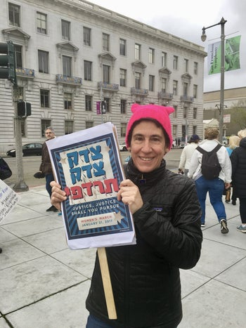 """Rabbi Sydney Mintz at the inaugural Women's March in 2017. """"The women's movement is much larger than the personalities leading the Women's March,"""" she says."""
