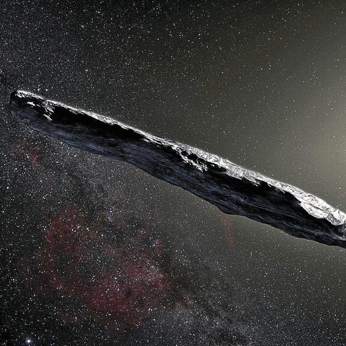 "An artist's rendering of Oumuamua. ""It waited in place, like a buoy in the ocean, until the 'ship' of the solar system ran into it."""