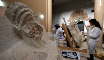 A damaged statue from Palmyra is seen at Syria's National Museum of Damascus, Syria January 9, 2019.