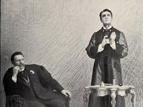 Sherlock Holmes with Doctor Watson, from stage adaptation of 'Sherlock Holmes.'