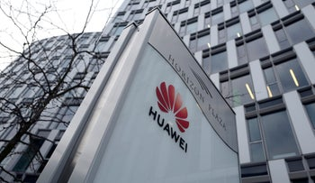 Logo of Huawei is seen in front of the local offices of Huawei in Warsaw, Poland January 11, 2019.