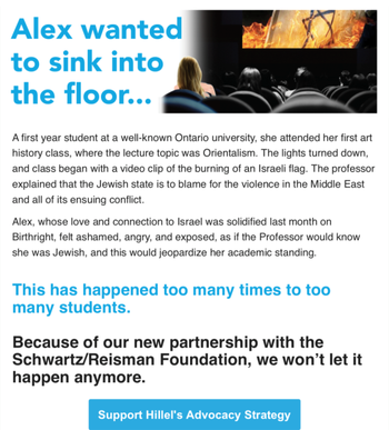 Hillel Ontario fundraising email with the story of 'Alex' and the burning of the Israeli flag