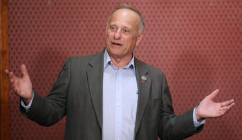 Republican Rep. Steve King talks to voters at the Second Street Emporium restaurant in Webster City, Iowa, U.S. November 5, 2018