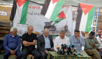 Residents of the West Bank Bedouin Palestinian village of Khan al-Ahmar, holding a press conference after the High Court of Justice turned down their appeal against evacuation, September 5, 2018