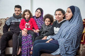 Nallah Shahtit alongside her five children, whose request for citizenship has also been denied.