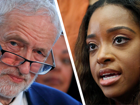 Jeremy Corbyn, leader of the Labour Party, and Women's March co-leader Tamika Mallory