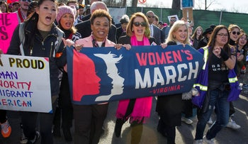 File photo: House Minority Leader Nancy Pelosi marches in the Women's March as they walk to the White House in Washington, January 20, 2018.