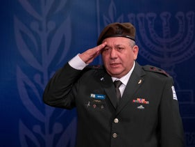 Outgoing Lt. Gen. Gadi Eisenkot at a graduation ceremony for incoming Chief of Staff Aviv Kochavi, Tel Aviv, January 15, 2019.