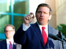 Gov. Ron DeSantis speaks at the Broward County Sheriff's Office Fort Lauderdale headquarter in Florida, January 11, 2019.