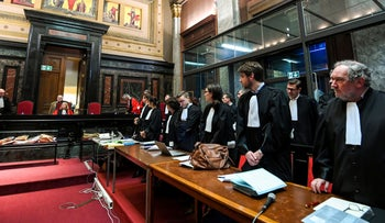 Lawyers wait for the start of the trial of Nemmouche and Bendrer at Brussels' Palace of Justice, January 15, 2019.