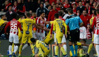 A scuffle between players during the derby between Hapoel Tel Aviv and Maccabi Tel Aviv in Petah Tikva on Monday, January 14, 2019.
