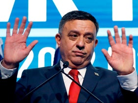 Labor Chairman Avi Gabbay, gestures as he delivers a speech during a party conference on January 10, 2019.