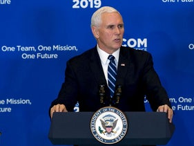"Vice President Mike Pence speaks during the Global Chiefs of Mission Conference ""One Team, One Mission, One Future"" at Department of State on Wednesday, Jan. 16, 2019"