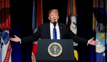 U.S. President Donald Trump speaks during the Missile Defense Review announcement at the Pentagon in Arlington, Virginia, U.S., January 17, 2019.