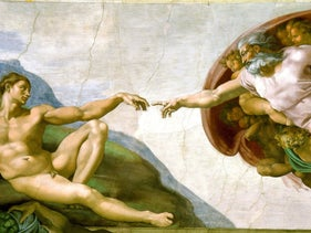 """Creation of Adam"" by Michelangelo at the Sistine Chapel in Rome (c. 1508-1512)."