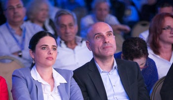 Justice Minister Ayelet Shaked and the head of the Israel Bar Association, Efraim Nave, in 2017.