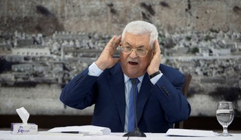File photo: Palestinian President Mahmoud Abbas gestures as he speaks during a meeting of the Palestinian leadership in the West Bank city of Ramallah, December 22, 2018.