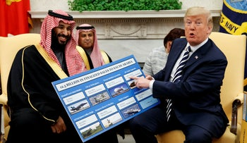 File photo: President Donald Trump shows a chart highlighting arms sales to Saudi Arabia during a meeting with Crown Prince Mohammed bin Salman in the Oval Office on March 20, 2018.