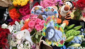 Flowers during a vigil in memory of murdered Israeli student Aya Masarwe in Melbourne on January 18, 2019.