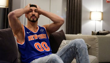 Enes Kanter, the Turkish-born NBA player, watches his New York Knicks play in London while at home in New York, January 17, 2019.