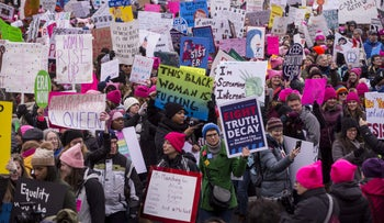 Demonstrators at the Women's March in Washington D.C.,January 19, 2019.