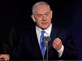 Prime Minister Benjamin Netanyahu speaks during a handover ceremony for the new Israeli chief of staff on January 15, 2019.