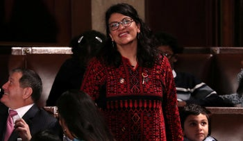 U.S. Representative Rashida Tlaib (D-MI) looks up into the gallery during the first session of the new Congress at the U.S. Capitol in Washington, U.S. January 3, 2019.