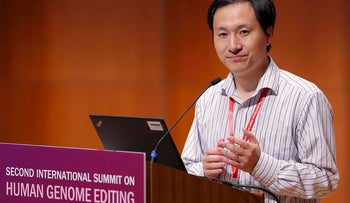 In this Nov. 28, 2018, photo, He Jiankui, a Chinese researcher, speaks during the Human Genome Editing Conference in Hong Kong