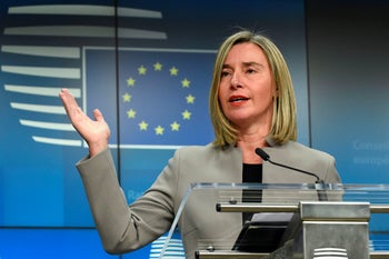 High Representative of the European Union for Foreign Affairs and Security Policy Federica Mogherini at a press conference, Brussels, January 21, 2019.
