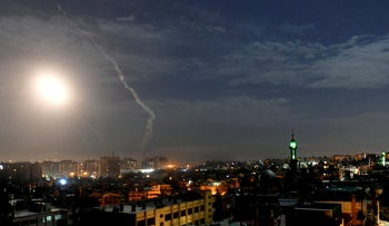 Missiles flying into the sky near the international airport, Damascus, Syria, January 21, 2019.