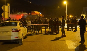 The scene of the stabbing attack in the West Bank, on Monday, January 21, 2019.