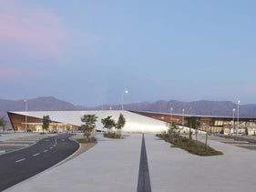 Entrance façade of the terminal at the new Ilan and Asaf Ramon Airport, outside Eilat. Planners had to comply with 1,480 International Civil Aviation Organization licensing requirements.