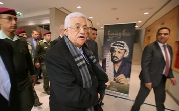 Palestinian President Mahmoud Abbas arriving at the Ramallah site that would open two years later as the Yasser Arafat Museum, November 9, 2014.