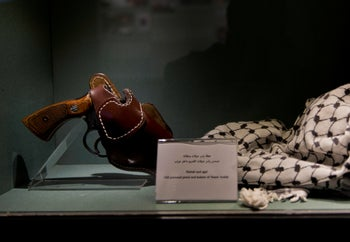 Personal items belonging to the former PLO leader on display at the Yasser Arafat Museum in Ramallah.
