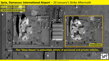 Satellite image shows damage caused by Israeli strike on targets in Damascus International Airport, January 22, 2019.