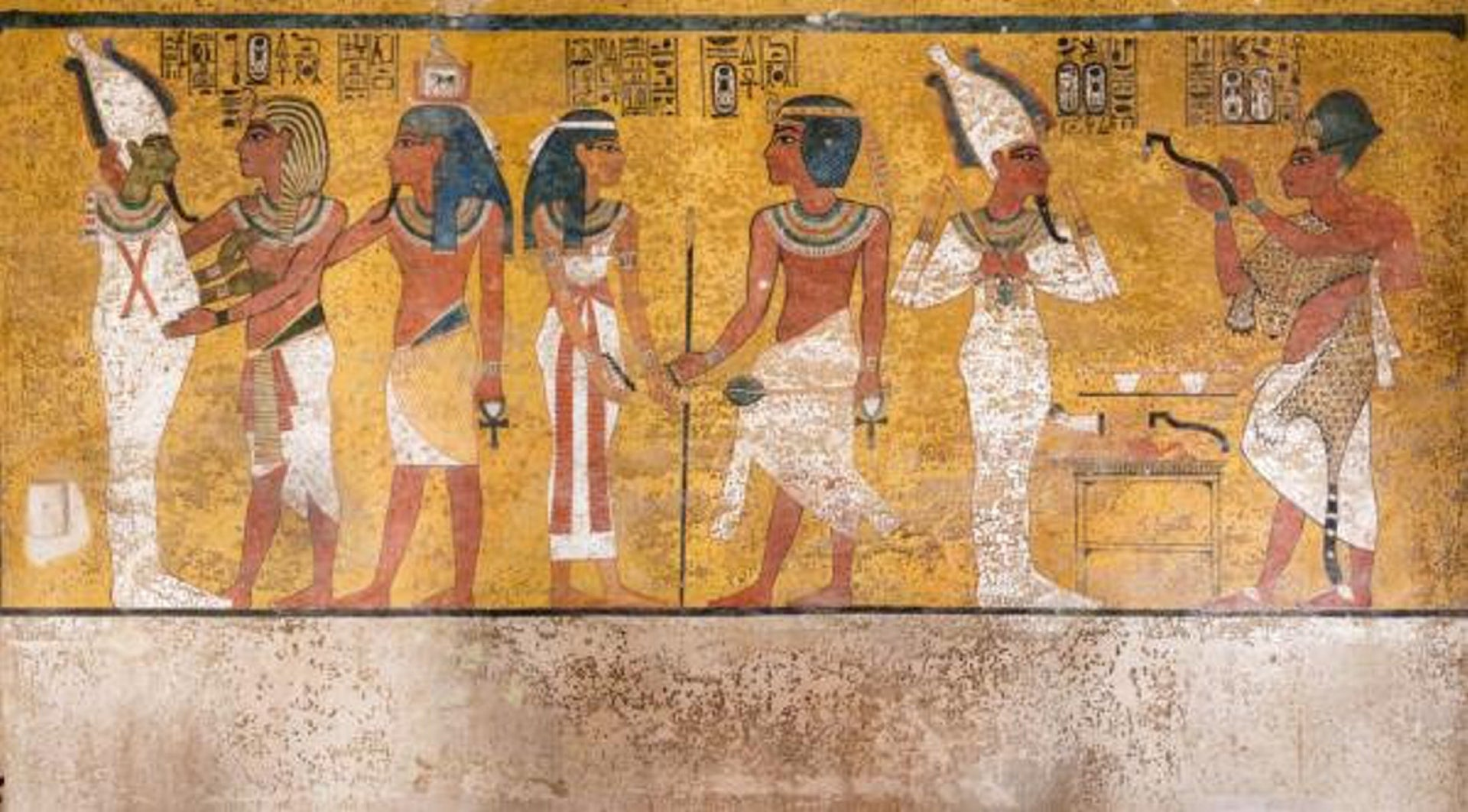 The north wall of the burial chamber depicts three separate scenes.