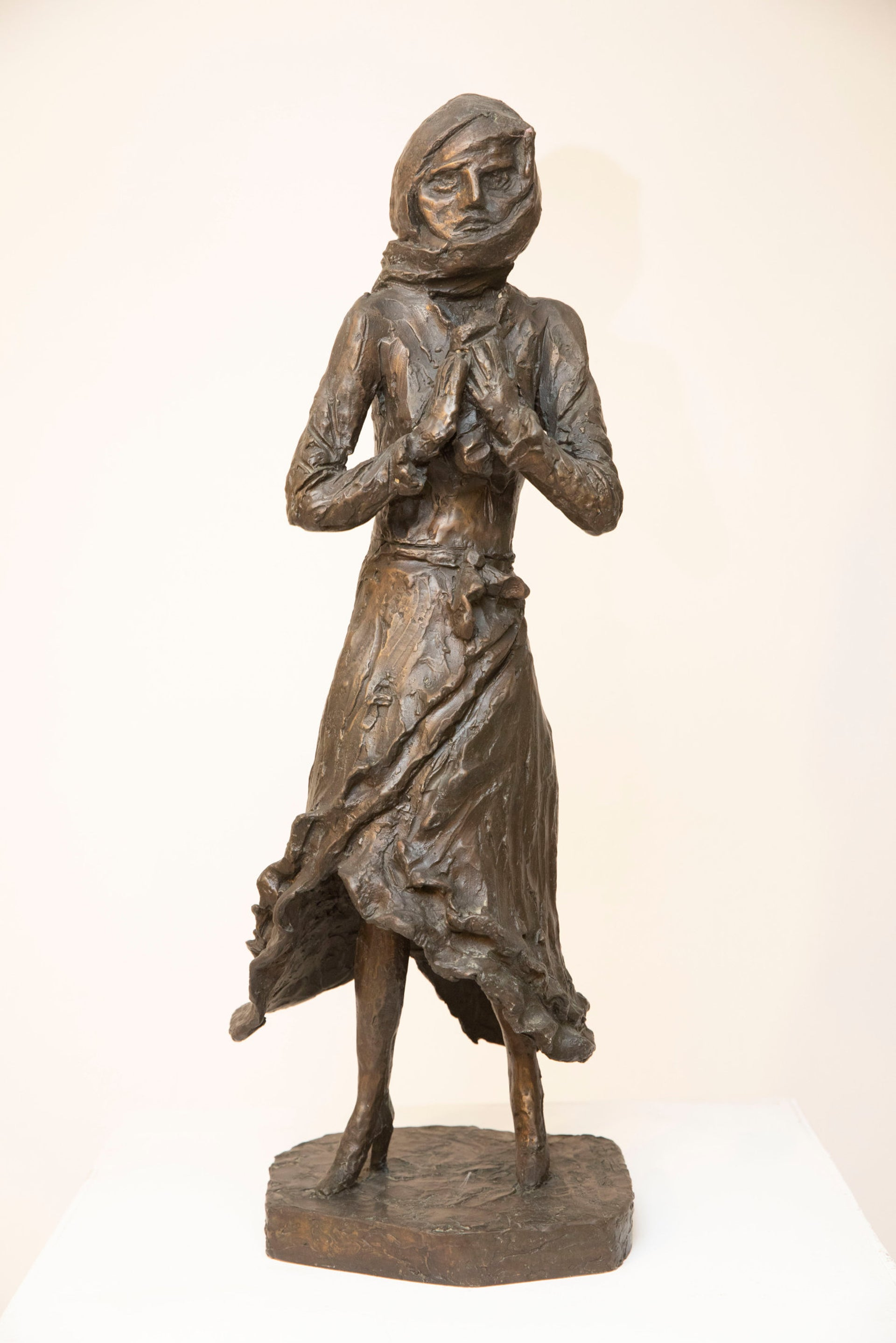 A sculpture by Samuel Willenberg showing a woman wearing rags and high-heeled shoes after arriving at Treblinka. She was led away by the Nazis and minutes later Samuel heard a shot being fired.