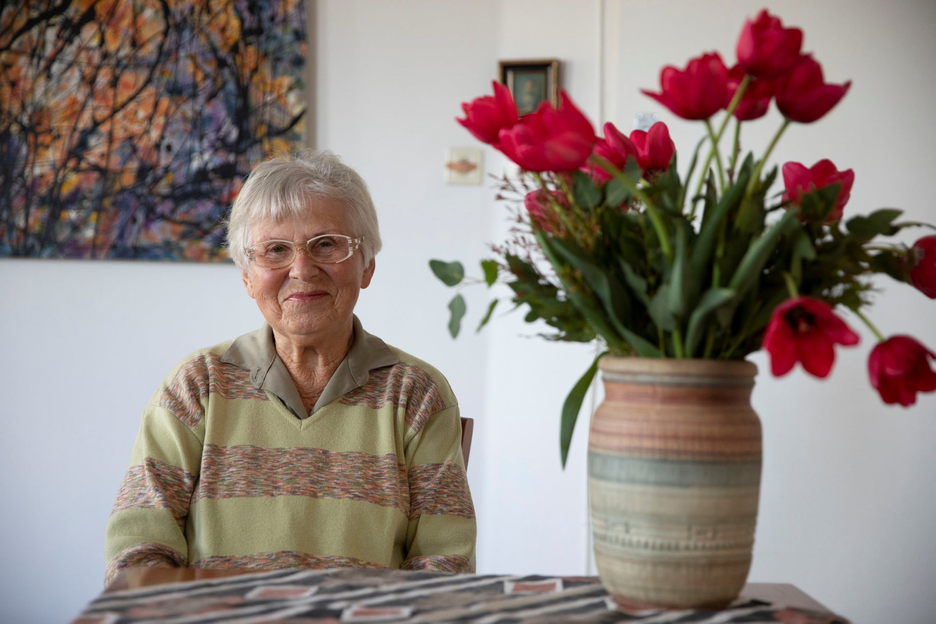 Ada Willenberg, 90, at her apartment in Tel Aviv. Her late husband Samuel's sculptures are all stored a few floors below in the basement.