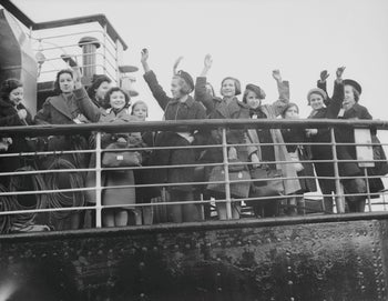 Kindertransport refugees arriving in Harwich, England, from Germany, December 2, 1938.