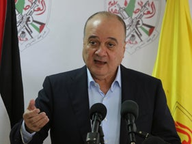 Nasser al-Qudwa, a member of the Central Committee of the PLO, speaking during a press conference in Ramallah, November 7, 2017.