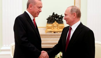 Russian President Vladimir Putin shakes hands with Turkey's President Recep Tayyip Erdogan prior to their talks in the Kremlin in Moscow, Russia, January 23, 2019.