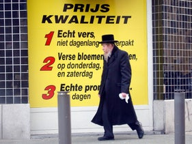 File photo: A Jewish man walks by a food store in Antwerp, Belgium, January 16, 2015.